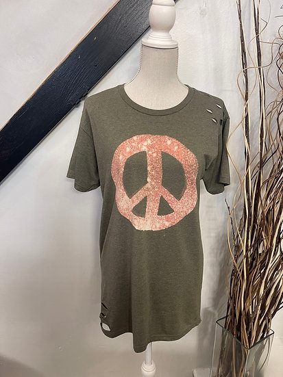 Olive Dress with Peace Sign and Distressing
