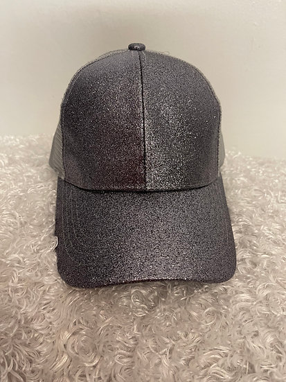 Glitter Pony Tail Cap Grey with Mesh Back