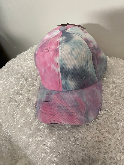 Criss Cross Baby Pink and Grey Tie Dye Cloth Hat