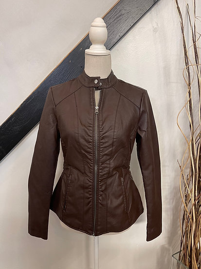 Coffee Liquid Leather Jacket with Gathered Side