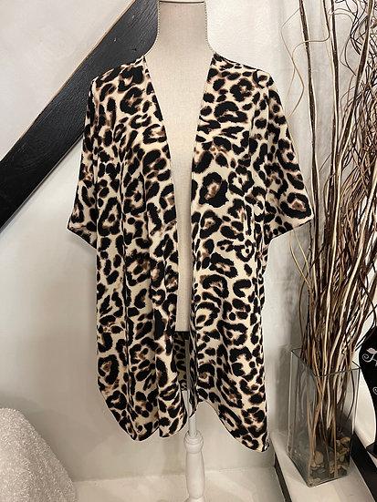 Brown Tone Leopard Print Kimono