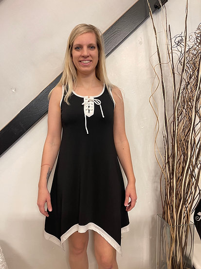 Laced Neckline Irregular Hem Dress