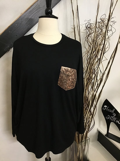 Black Dolman Sleeve with Sequin Pocket Top
