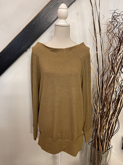 Mustard Brushed Rib Knit off the shoulder Top