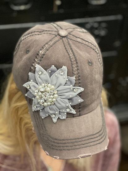 Gray Flower Hat