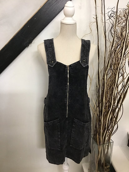 Black Corduroy Washed Overall Mini Dress