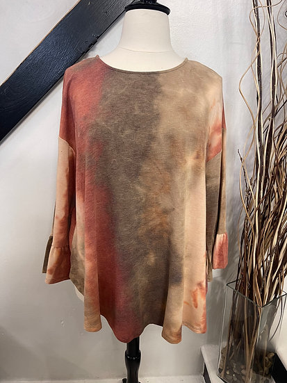 Rust French Terry Bell Sleeve Top with Open Back