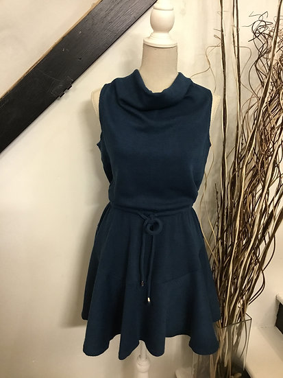 Teal Sleeveless Heavy Rib Knit Cowl Neck Dress