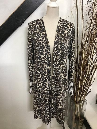 Stripe Accent Leopard Open Cardigan