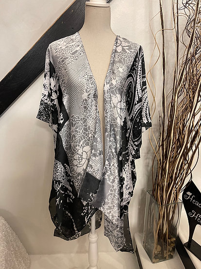 Black Floral Satin Kimono