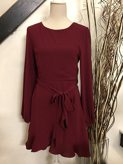 Wine Long Sleeve Woven Dress with Ruffled Wrap Skirt