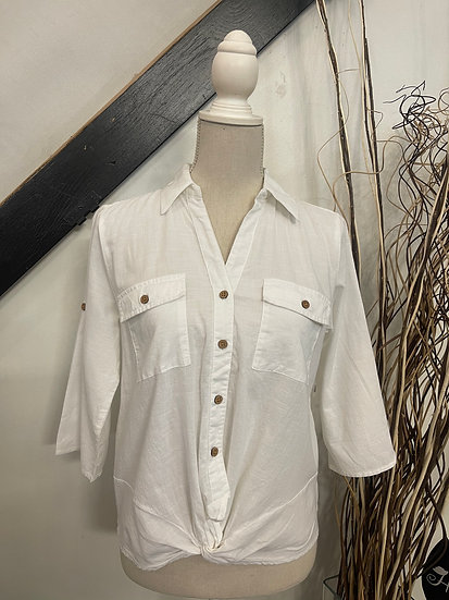 White 3/4 Roll Tab and 2 Pocket Top