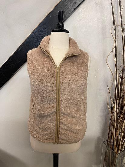 Beige Sherpa Zip Front Vest