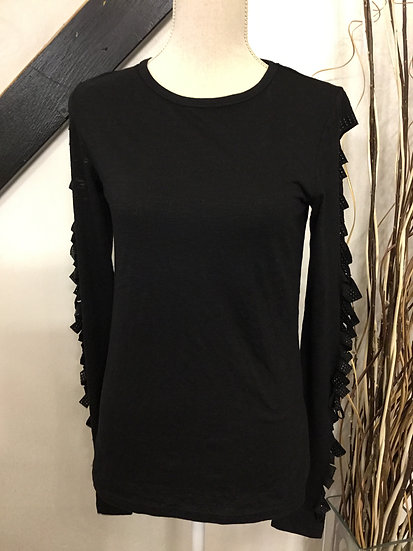 Black Top with Cut-outs on Sleeves
