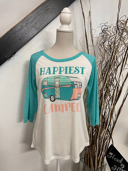"""""""Happiest Camper"""" on White Raglan with Turquoise Sleeves"""
