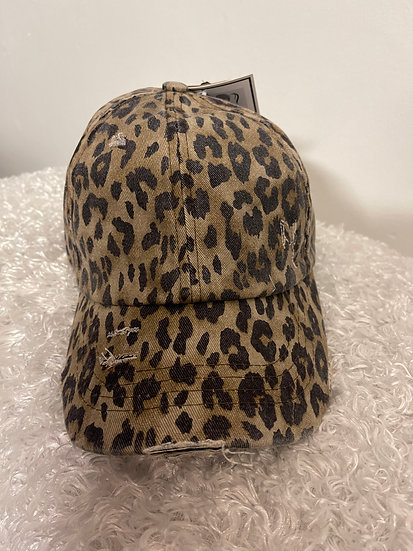 Criss Cross Leopard Cap with Epoxy Buttons for Mask