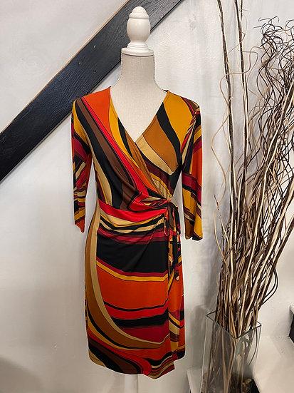 Black/orange/brown Pucci Side Tie Dress