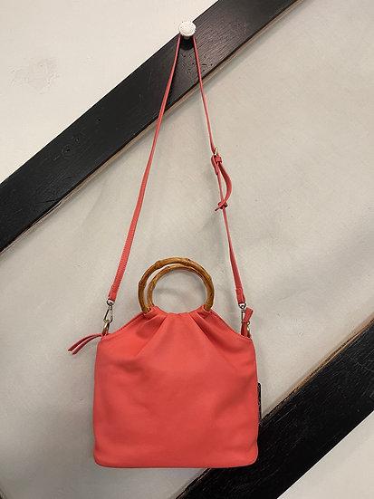 Coral Natalie Bamboo Handle Pouf Bag