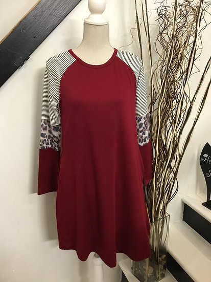 Wine Colored Dress with Sleeve Accents