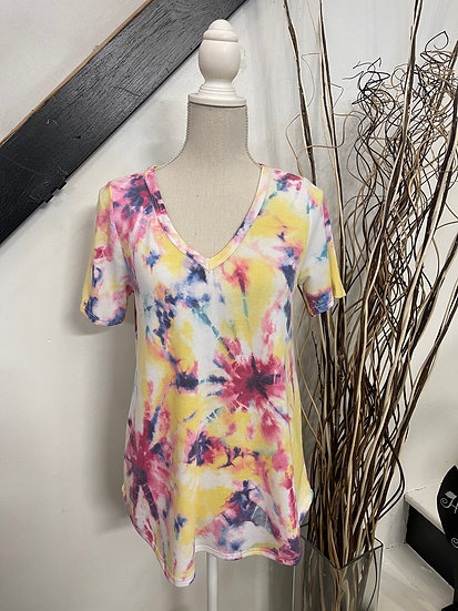 Yellow/Fuchsia Tie Dye Print Terry V Neck