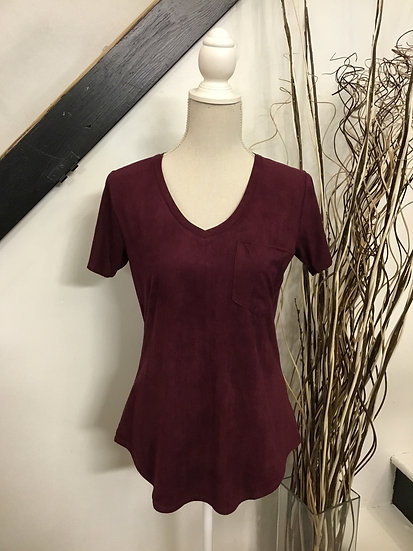 Mahogany V-Neck Pocket Tee