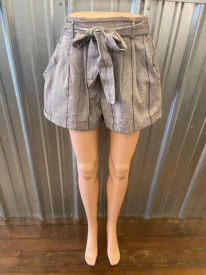Gray Woven Stripe Shorts