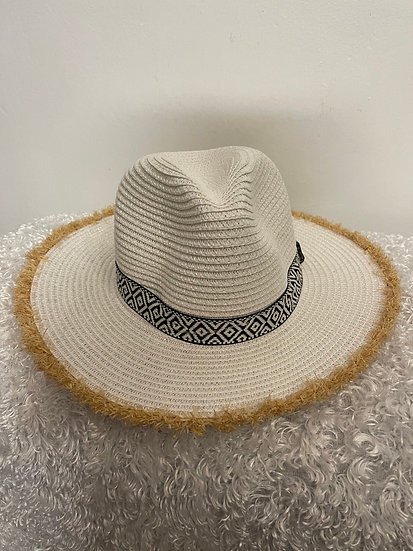 White Frayed Trim Black White Aztec Band Straw Hat