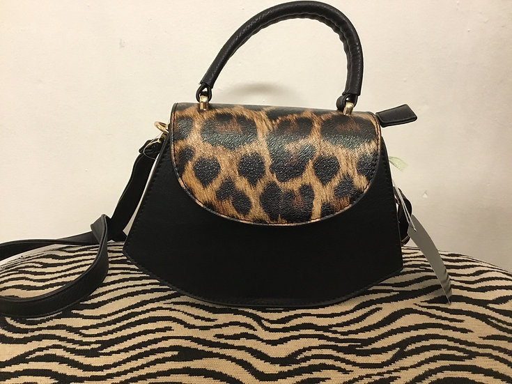 Black/Leopard Crossbody