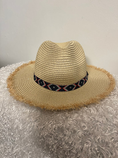 Natural Frayed Trim Cool Tone Aztec Band Straw Hat