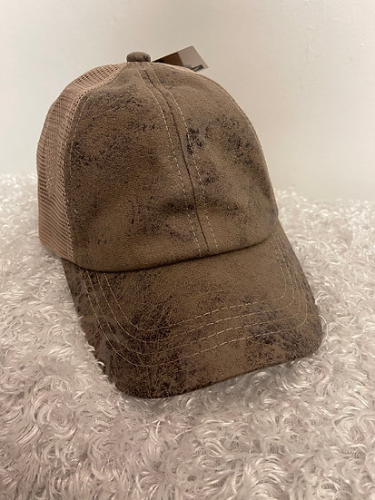 Criss Cross Taupe Vintage Faux Leather Hat with Mesh Back