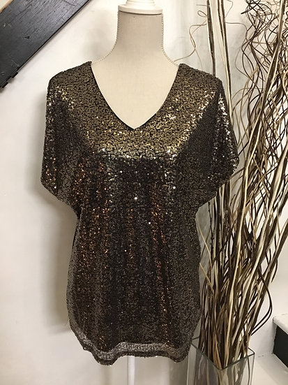 Gold Drop Shoulder Sequin Top