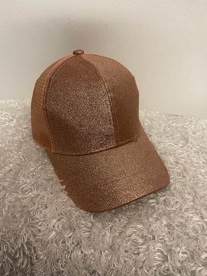 Glitter Pony Tail Cap Rose Gold with Mesh Back