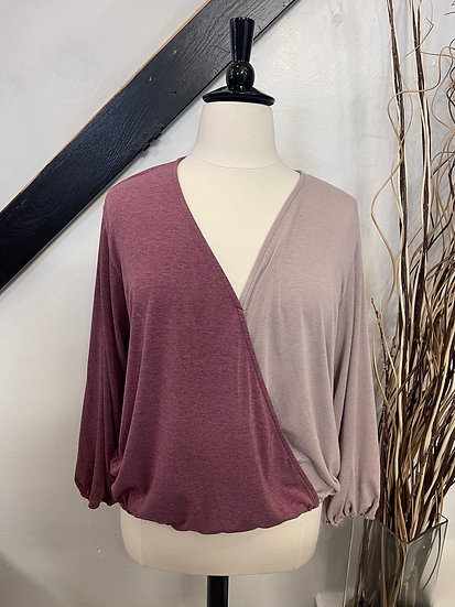 Burgundy Surplice Top with V-Neck, Balloon Sleeves and Elastic Hem