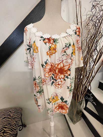 Floral Printed with Flower Trim Detail