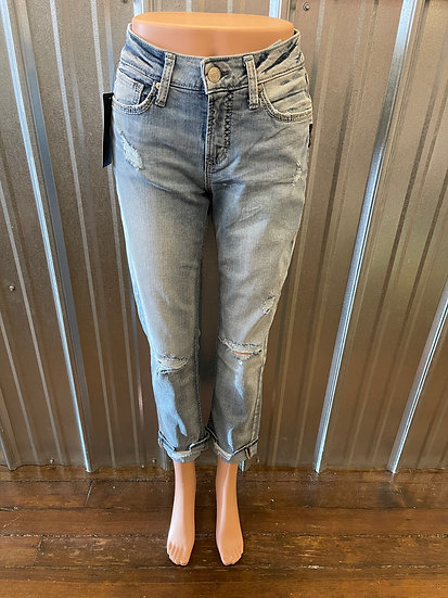 Avery Distressed Straight Leg High Rise Jean