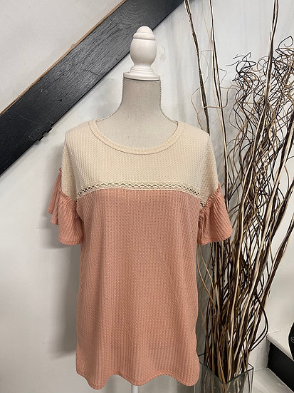 Oatmeal/Rose Waffle Knit Color Block Top