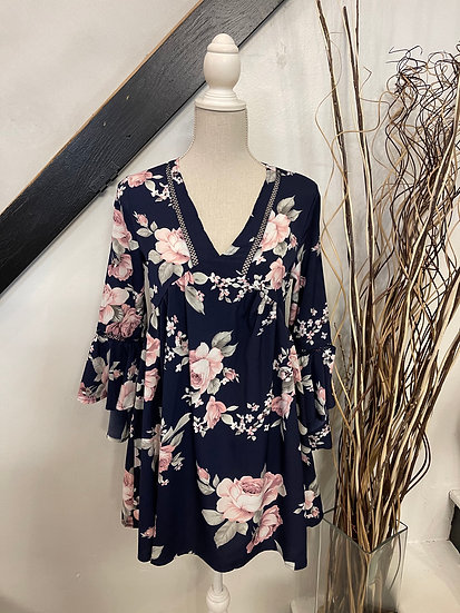 Navy Floral Bubble Tunic Dress with Bell Sleeves