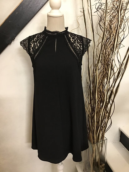 Black Short Sleeve Woven Dress with Crochet Lace Contrast