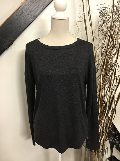 Charcoal Long Sleeve Lattice Back Top