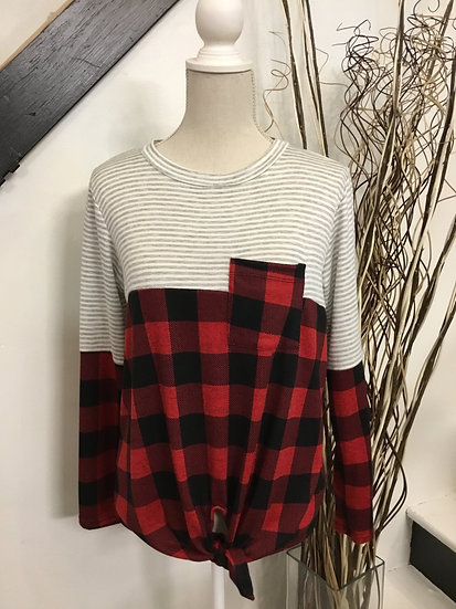 Plaid/ Stripe Long Sleeve Top with Tie