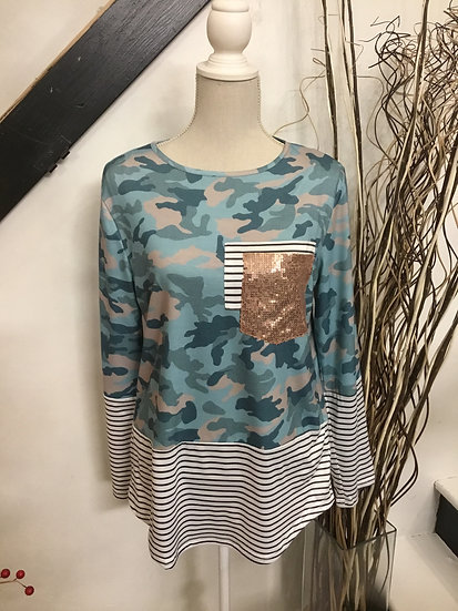Blue Camo & Stripes Long Sleeve