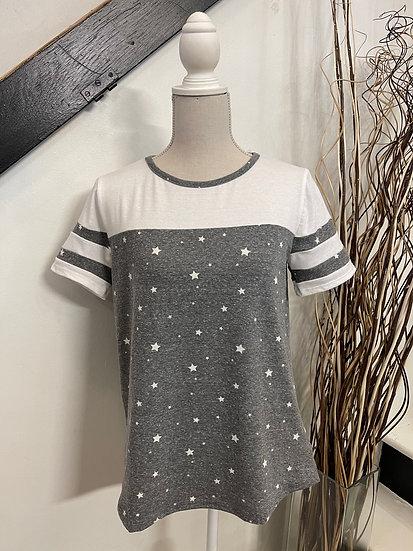 Grey Short Varsity Sleeve Star Print Top