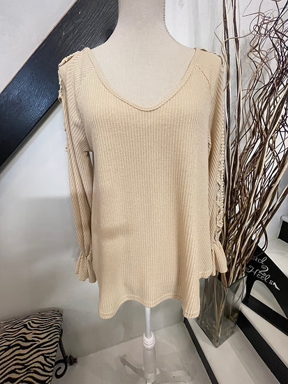 Nude Ruffled Sleeve with Lace Trim V Neck Top