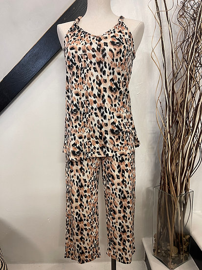 Animal Print Capri Pajama Set