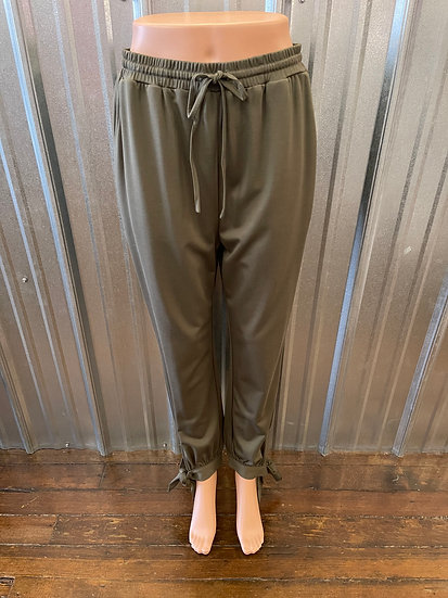 Dusty Olive Band Tie Jogger