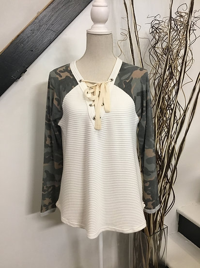 Ivory Double Knit Rib Top with Camo Sleeves