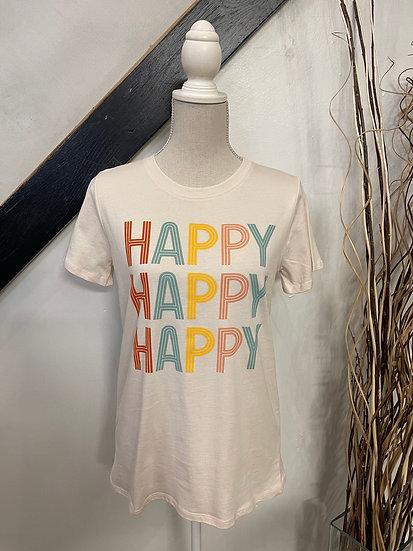 "Natural ""happy happy happy"" rainbow graphic top"
