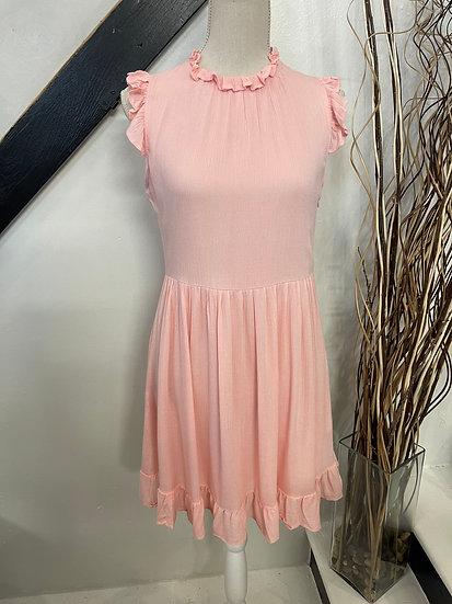 Pink Sleeveless Ruffle Dress
