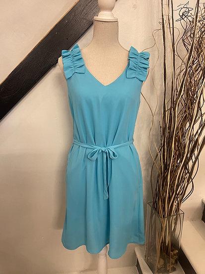 Aqua Ruffled Detailed Shoulder Sleeveless Dress