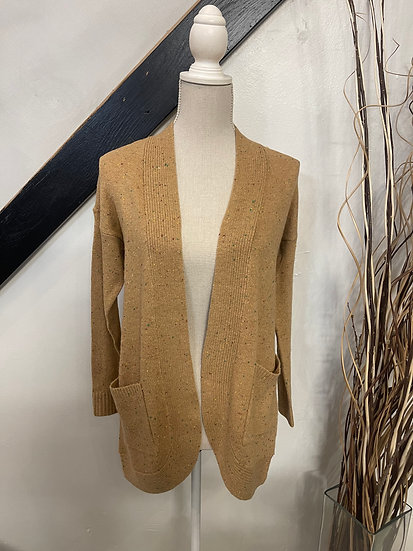 Camel Cardigan with Colored Speckles